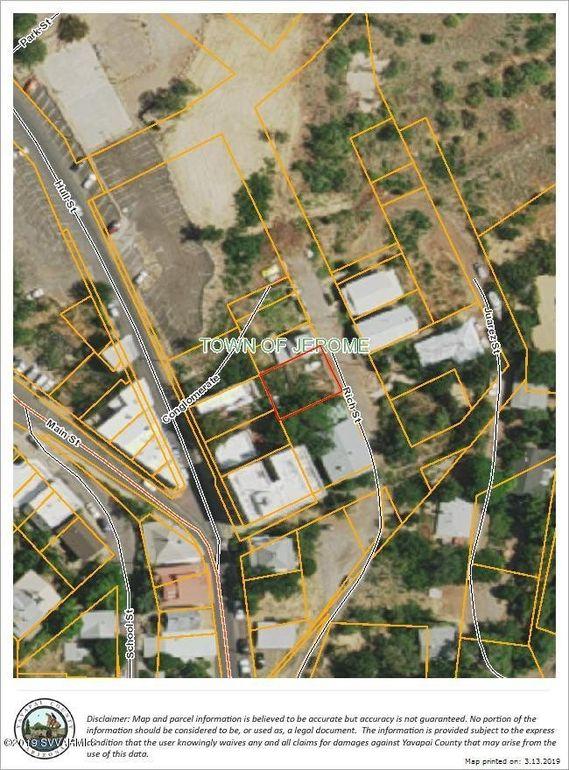 Map Of Arizona Including Jerome.Big Rich St Lot On Jerome Az 86331