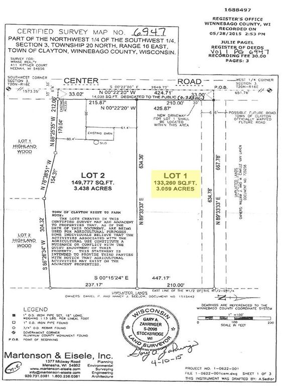 c8873437c921 Center Rd Lot 1, Neenah, WI 54956